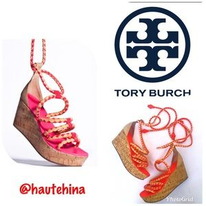 Authentic Tory Burch leather rope wedges